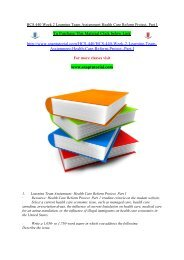 HCS 440 Week 2 Learning Team Assignment Health Care Reform Project, Part I/snaptutorial