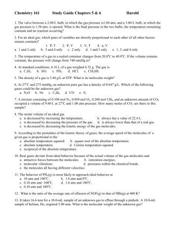 Answers To Chemistry Study Guide The Mole