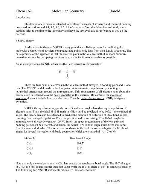 Chem 162 Molecular Geometry Harold