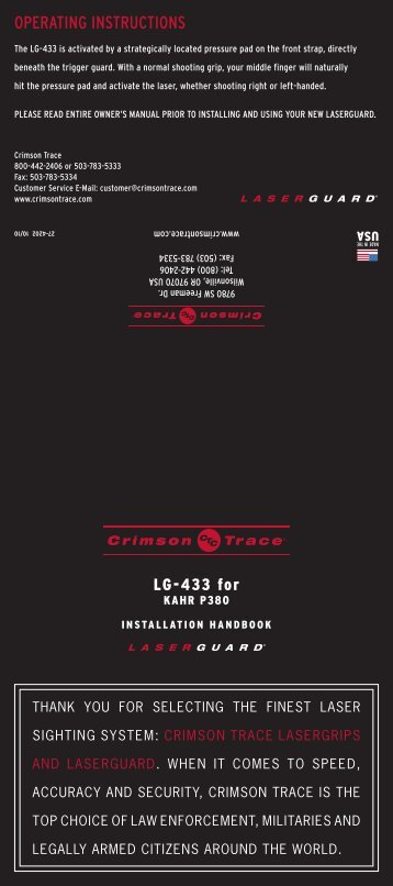 Installing your laser sights | crimson trace lasergrips.