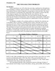 Chemistry 161 THE NINE-SOLUTION PROBLEM