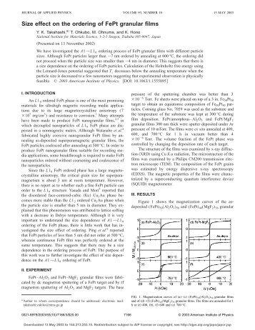 Size effect on the ordering of FePt granular films