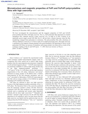 Microstructure and magnetic properties of FePt and Fe/FePt ...