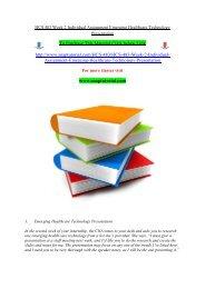 HCS 483 Week 2 Individual Assignment Emerging Healthcare Technology Presentation/snaptutorial