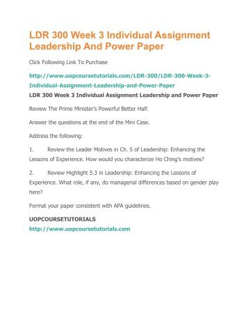 LDR 300 Week 3 Assignment Leadership and Power Paper