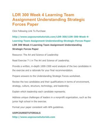 understanding strategic forces Ldr 300 week 4 understanding strategic forces click link below to buy:  visit www.