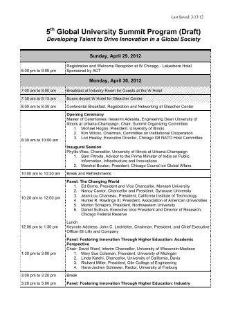 5th Global University Summit Program - Public Engagement ...