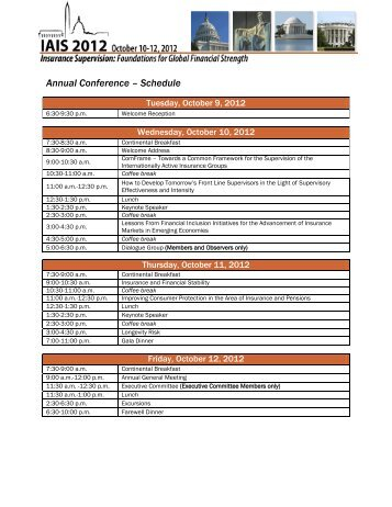 Annual Conference – Schedule - 2012 IAIS Annual Conference
