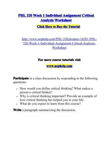 critical analysis worksheet