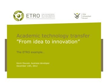 """Academic technology transfer """"From idea to innovation"""""""