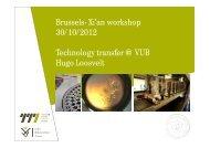 Brussels- Xi'an workshop 30/10/2012 Technology transfer @ VUB Hugo Loosvelt