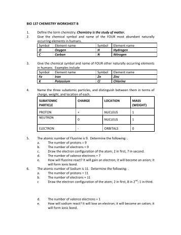 Key to Chemistry Worksheet B