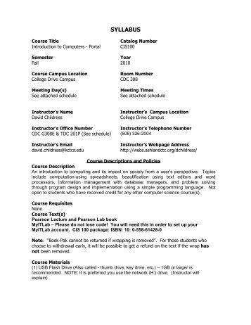 CIS100 syllabus - Ashland Community & Technical College
