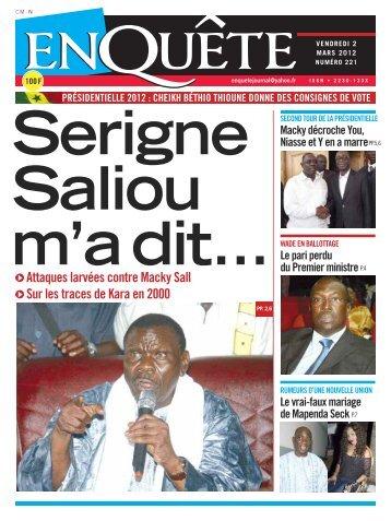 Serigne Saliou m'a dit..