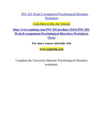 Psy 240 week 8 psychological and