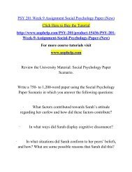 PSY 201 Week 9 Assignment Social Psychology Paper (New)