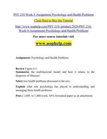 psychology and health problems Clinical health psychology is a professionally recognized specialty that  investigates and  people with acute health problems or complex healthcare  needs.