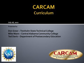 Don Greer –Trenholm State Technical College Mike Mann –Central ...