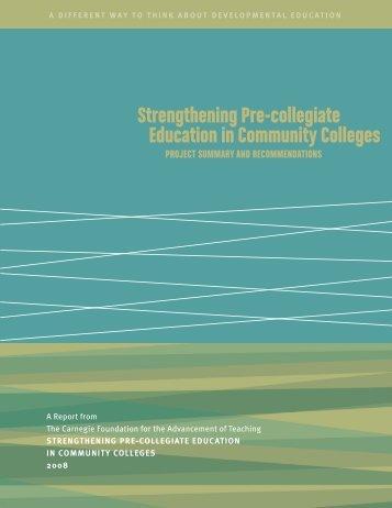 Strengthening Pre-collegiate Education in Community Colleges