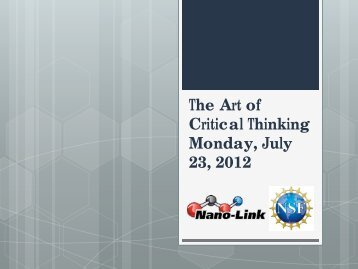 Critical Thinking The Art of Critical Thinking Monday July 23 2012
