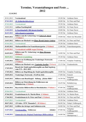 Termine, Veranstaltungen und Feste ... 2012 - Original Truderinger ...