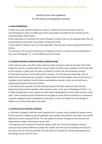 general terms and conditions of the hotel accommodation