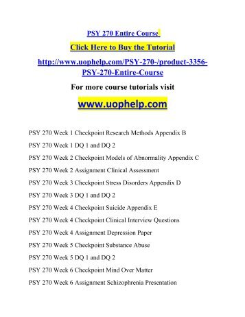 psy 270 assignment clinical assessment Psy 270 week 8 assignment dsm iv problems join login appendix c psy 270 week 2 assignment clinical assessment psy 270 week 3 checkpoint stress.