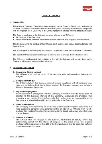 Essar Oil Limited Page 1 of 2