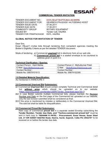 Documents for an invitation to tender bebo commercial tender invitation tender document no essar stopboris Choice Image