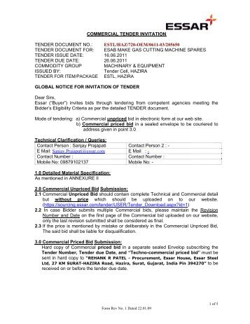 Commercial tender invitation tender document no essar stopboris