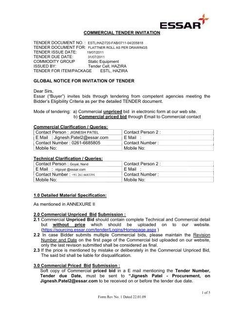 Essar steel limited tenders dating