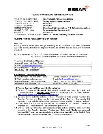 Techno commercial tender invitation tender document no essar techno commercial tender invitation tender essar stopboris Choice Image