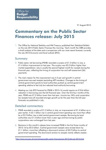 Commentary on the Public Sector Finances release July 2015