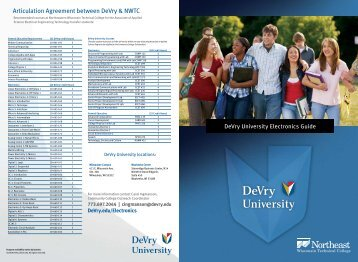 Articulation Agreement between DeVry & NWTC