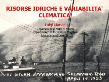 RISORSE IDRICHE E VARIABILITA' CLIMATICA
