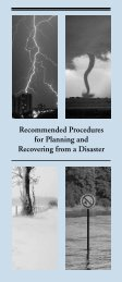 Recommended Procedures for Planning and Recovering from a Disaster