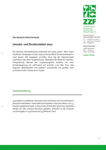 Der deutsche Heimtiermarkt: Umsatz- und Strukturdaten 2010 - ZZF