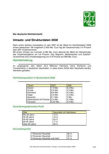Der deutsche Heimtiermarkt: Umsatz- und Strukturdaten 2008 - ZZF