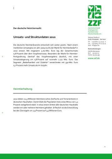 Der deutsche Heimtiermarkt 2010 - ZZF