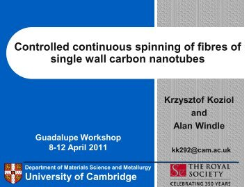 Controlled continuous spinning of fibres of single wall carbon nanotubes