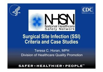 Surgical Site Infection (SSI) Criteria and Case Studies