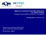 Migliorare le prestazioni delle PMI collaborando con clienti e ... - AQM