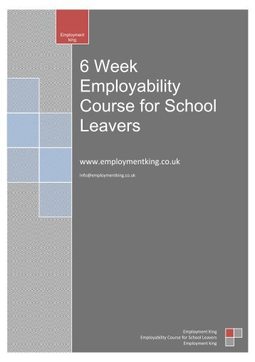 6 Week Employability Course for School Leavers