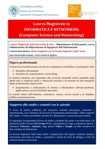 Laurea Magistrale in INFORMATICA E NETWORKING (Computer Science and Networking)