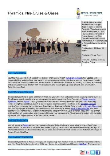 Pyramids, Nile Cruise & Oases - Memphis Tours