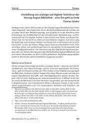 Umstellung von analoger auf digitale Technik an der Herzog August ...