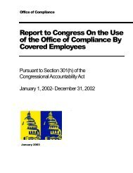 Report to Congress On the Use of the Office of Compliance By Covered Employees
