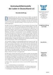 Kurzdarstellung - Zentralwohlfahrtsstelle der Juden in Deutschland eV