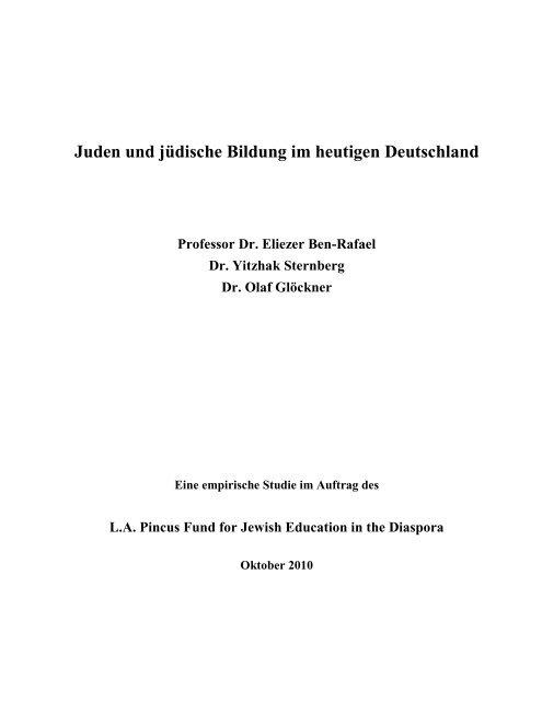 Juden und jüdische Bildung im heutigen Deutschland Professor Dr ...