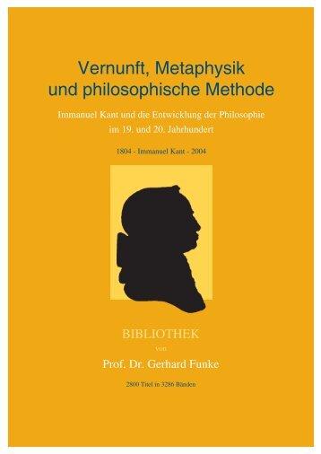 Vernunft, Metaphysik und philosophische Methode
